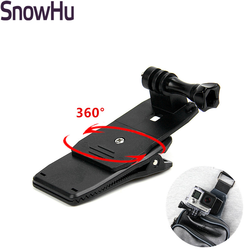 SnowHu For Gopro Accessories 360 Degree Rotary Backpack Hat Clip Fast Clamp Mount For Go Pro Hero 8 7 6 5  Sj4000 Sj5000  GP138A