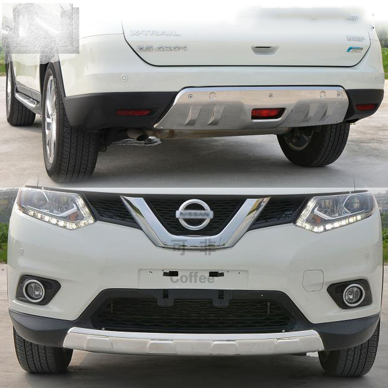 Car Styling For Nissan X-TRAIL 2014 2015 Stainless Steel Exterior Front Rear Bumper Protector Skid Plate Cover Trims Decoration stainless steel front rear bumper protector skid plate guard trim for porsche cayenne 2015 2016 2017