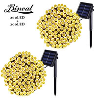 Binval Solar 200 LEDs Outdoor Holiday Lighting Gardens Christmas Lights Waterproof Led Decoration Mariage Party Lights 2 Pieces