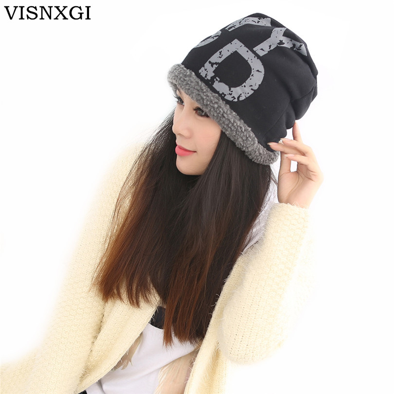 VISNXGI Winter Fashion Casual Warm Hat Hot Hat For Man The Trend Thick Fleece Plus Thick Velvet Knitted Hat Unisex Cap Beanie