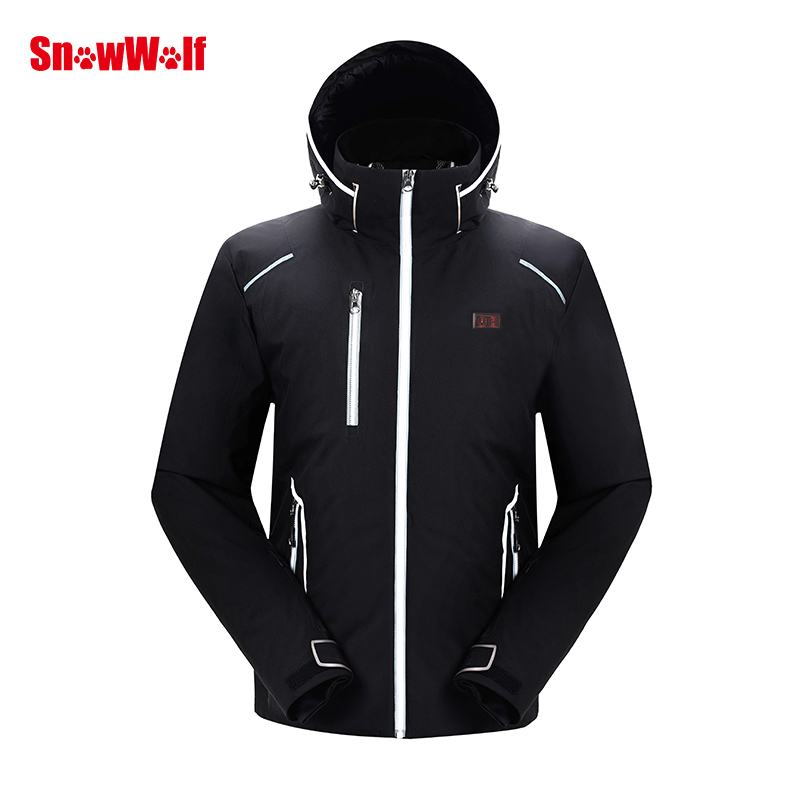 Купить с кэшбэком SNOWWOLF 2019 Men Winter Ski Suit USB Heated Hooded Jacket Male Outdoor Waterproof Windproof Breathable Thermal Snowboard Coat