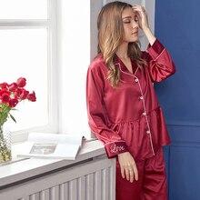 Xifenni Silk Pajama Sets Female Spring Summer New Faux SILK Sleepwear Woman Solid Color Long-Sleeve Nightwear 2-Pieces X9101