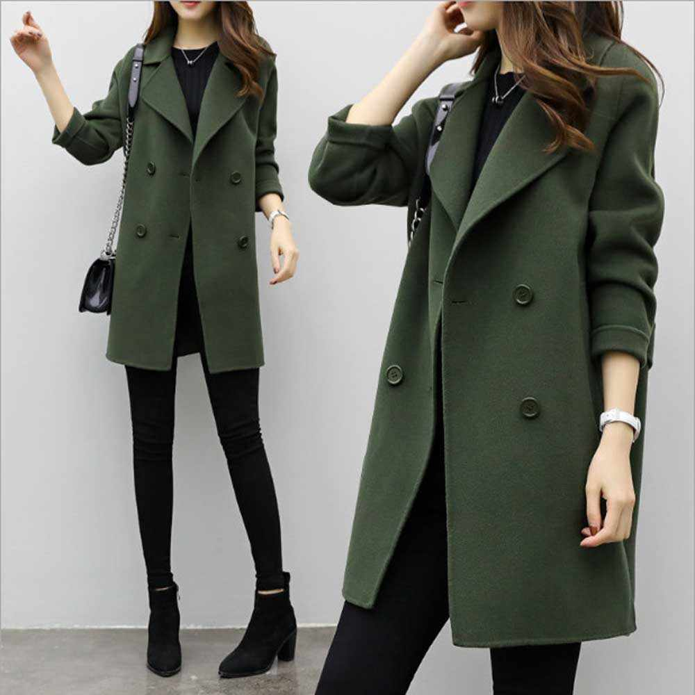 Female Double-breasted Overcoat Thicken Long Sleeve Turn down Collar Slim Fit Women Army Green Woolen Coat Windproof Warm Jacket