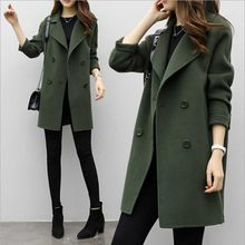 Female Double-breasted Overcoat Thicken Long Sleeve Turn down Collar Slim Fit Women Army Green Woolen Coat Windproof Warm Jacket(China)