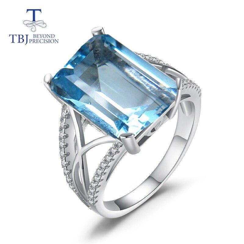 TBJ, 2018 naturalne błękitny topaz kamień pierścień oct10 * 14mm 9.5ct w 925 sterling silver grzywny biżuteria dla kobiet z pudełkiem w Pierścionki od Biżuteria i akcesoria na  Grupa 1
