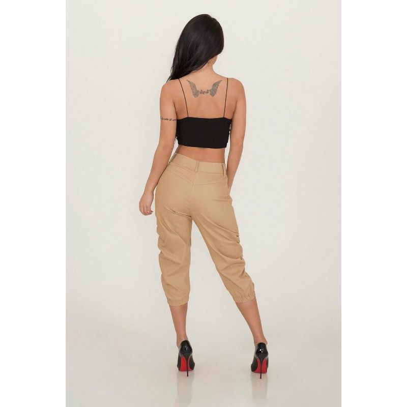 Streetwear ผู้หญิง 3/4 กางเกงผู้หญิงสาม Elasticated เอว Capri Cropped กางเกงจีบกางเกงแฟชั่น