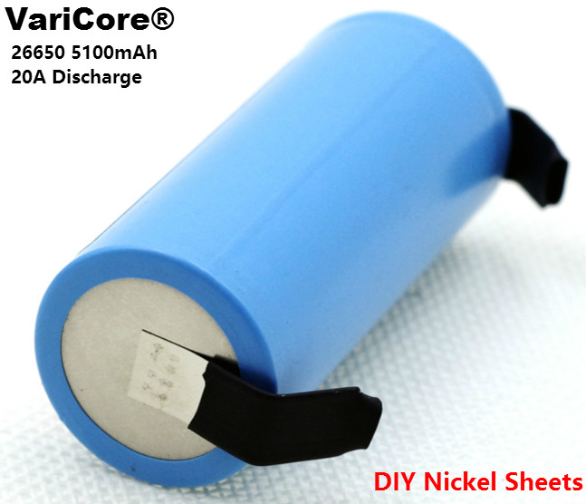 3PCS VariCore 26650 <font><b>5100mAh</b></font> Li-ion 3.7v Rechargeable Battery 20A Discharge 3.6V Power batteries +DIY Nickel Sheets image