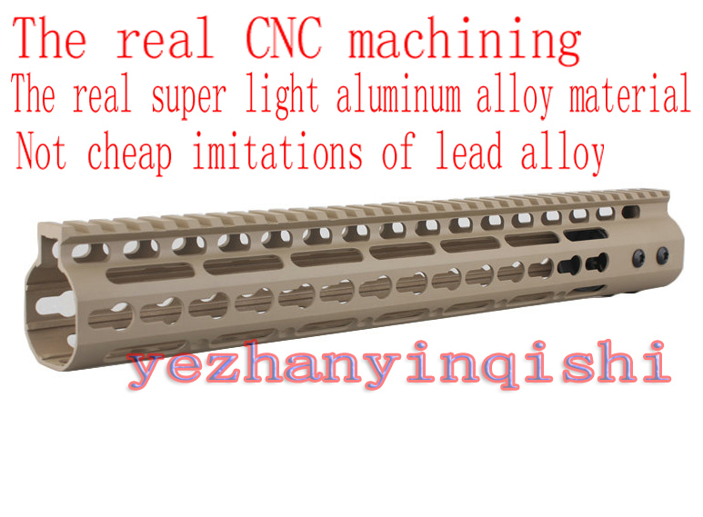 Real CNC lightweight aluminum alloy 13.5 inch TAN handguard rail system One-piece for AR-15/M4/M16 - Free shipping new lightweight cnc aluminum anodes m lok 9 inch handguard rail one picatinny rails system bk tan