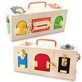 Preschool Montessori materialsteaching aids wooden locking box educational toys for kids gift brinquedos