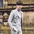 EAROL марка одежды мужчины blazer куртка 47.9% Шерсть осень зима новый вышивка Музыка сценические костюмы для певцов slim fit пиджаки
