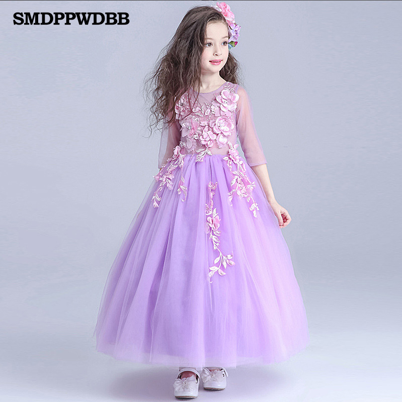 SMDPPWDB Wedding Party Purple Formal Flowers Girl Dress Pageant Dresses Birthday Cummunion Toddler Kids Evening Gown Custom new wedding party formal flowers girl dress baby pageant dresses birthday cummunion toddler kids tulle custom dress hb2059