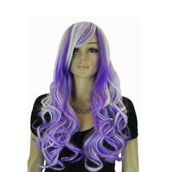 Strongbeauty Для женщин косплей длинные волнистые синий фиолетовый Синтетические волосы Halloween Party Искусственные парики
