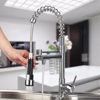 A Brand New Brass Chrome Kitchen Mixer Doude Way Deck Mounted Spout Flexible 360 Degree Swivel