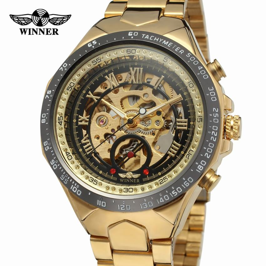 Top Brand Luxury Classic Golden Skeleton Mechanical WINNER Watch Men Stainless Steel Strap Man Watch winner dress classic men automatic mechanical watch stainless steel strap blue roman number transparent case design wrist watch