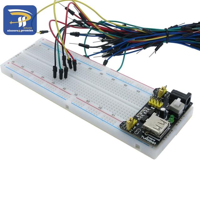 3.3V/5V MB-102 Breadboard power module+ 400 830 points Solderless Prototype Bread board kit +65 Flexible jumper wire