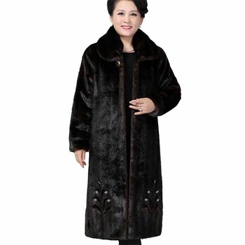 Fashion Winter Faux Mink Fur Coat Women Plus size X-Long Outerwear Thicken Warm Diamonds Casual Jackets Middle aged Female G271