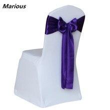 purple satin silk chair sash bow self-tie back for wedding decoration 50pcs/lot Free Shipping