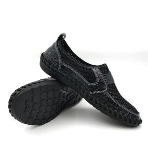 Image 5 - 2019 letnie oddychające buty z siatką męskie obuwie codzienne oryginalne skórzane Slip On marka moda letnie buty człowiek miękkie wygodne