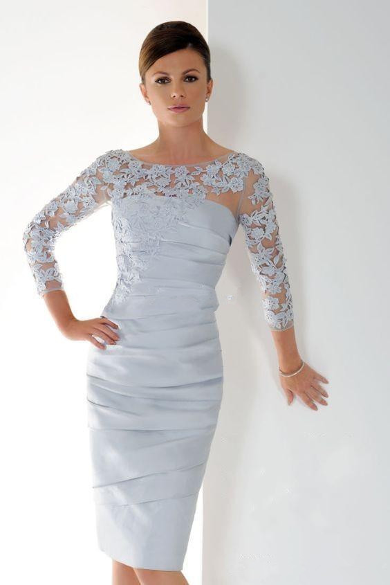 Silver 2019 Mother Of The Bride Dresses Sheath 3/4 Sleeves Appliques Groom Short Wedding Party Dress Mother Dresses For Wedding