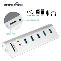 Cateck USB 3 0 5 Port Aluminum Hub With External Stereo Sound Adapter And 2 Slot