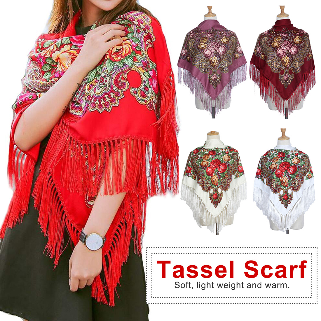 Womens Scarves Russian Big Size Square Cotton Long Tassel Print Shawl