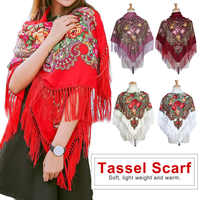 HOT Sale Russian Brand Big Size Square Scarf Cotton Long Tassel Scarf Spring Winter Shawl Women Floural Female Pashmina Cape