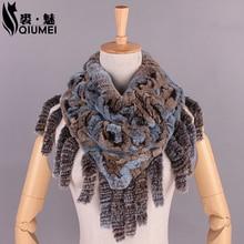 Winter Women Scarves With Tassel Rex Rabbit Fur Knitted 100 Real Fur Scarf New Women Luxury
