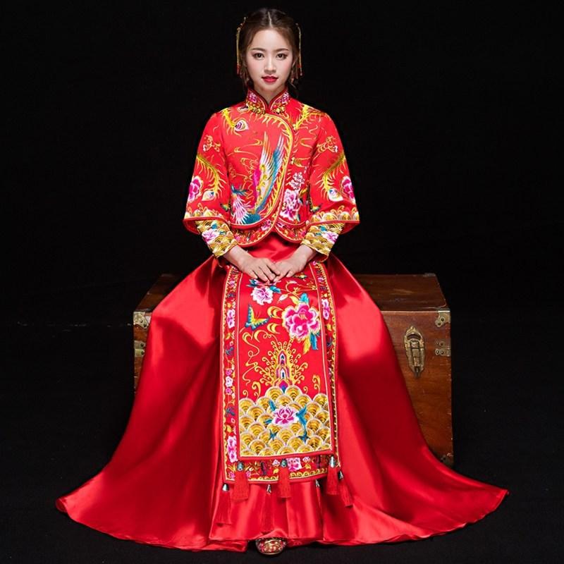 Chinese Bride Wedding Dress Gown Embroidery Phoenix Cheongsam Women Red Tassel Qipao Overseas Toast Clothing Elegant Lady Suit