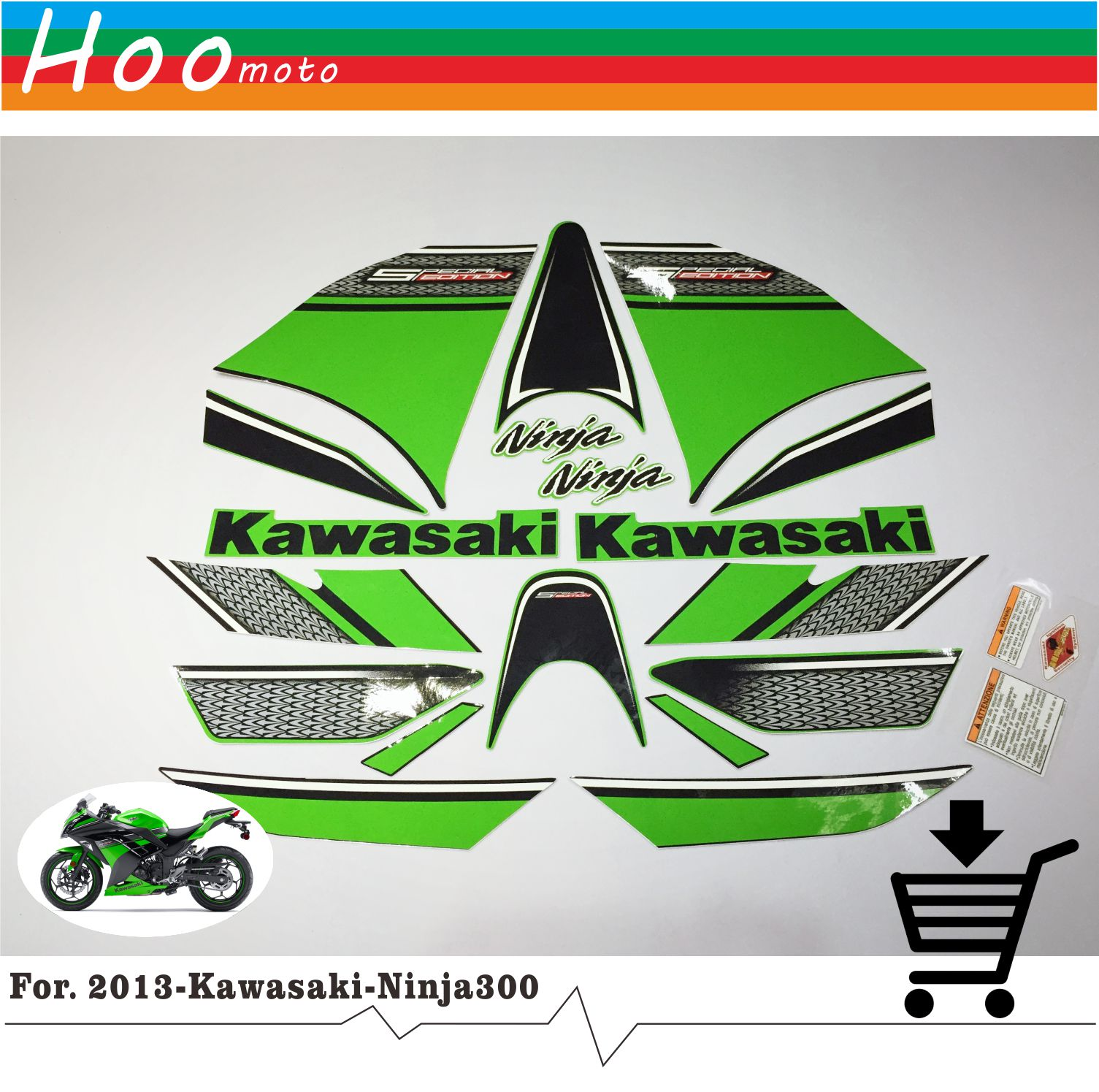 Ninja 300 Full Decals Stickers Graphics Kit Set Motorcycle Whole Vehicle 3M Decals Stickers for Kawasaki EX 2013 R Green Fairing