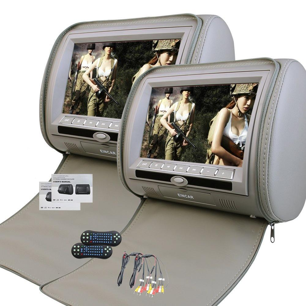 2 x 9 inch Digital display Screen Headrest DVD Player Monitor Zipper Cover LCD Display Support USB/SD/IR/FM Transmitter/+games eincar car 9 inch car dvd pillow headrest two monitor lcd screen usb sd 32 bit game fm ir multimedia player free 2 ir headphones