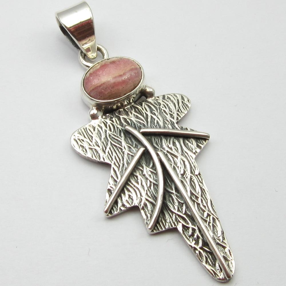 Silver Rhodochrosite Handmade Pendant 1.7