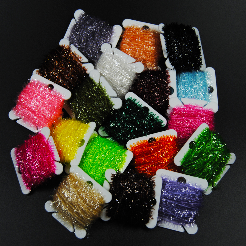 2PCS 19 Colors Tinsel Chenille Fly Tying Material Fur Strip for Streamer Lures Crystal Flash Line 10m/card