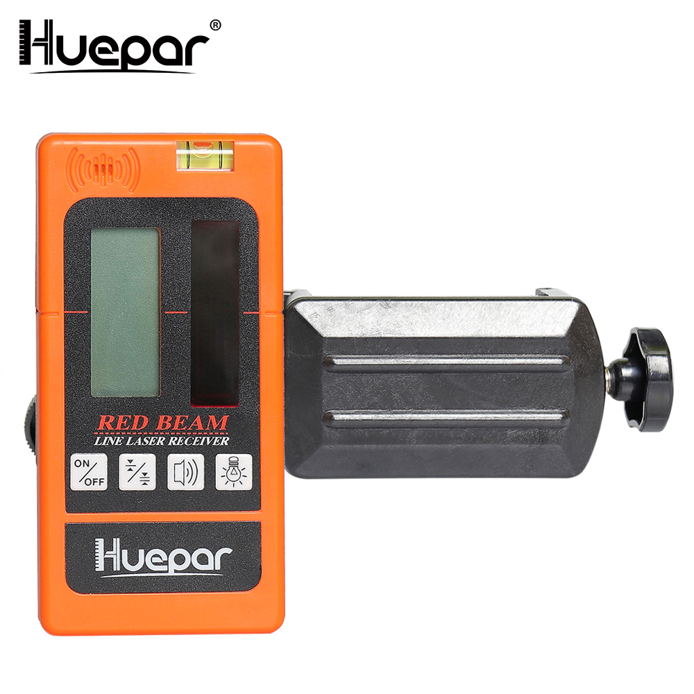 Huepar Laser Detector for Line Laser Red Beam Digital Laser Receiver Used with Pulsing Line Lasers up to 50m Distance - LR635