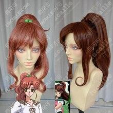 Cola de Caballo de Sailor Moon, Sailor Jupiter Kino Makoto, pelo corto marrón, resistente al calor, disfraz de Cosplay, peluca + gorro