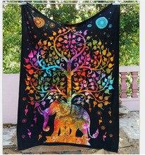 Big Ganesh Indian Elephant Mandala Tapestry