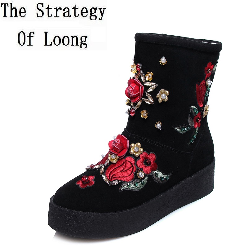 Winter Women Flats Chunky Heel Genuine Nubuck Leather Inside Wool Round Toe Fashion Flowers Thick Warm Ankle Snow Boots winter 2014 british round solid leather thick follow with frosted leather ladies nubuck leather ankle boots