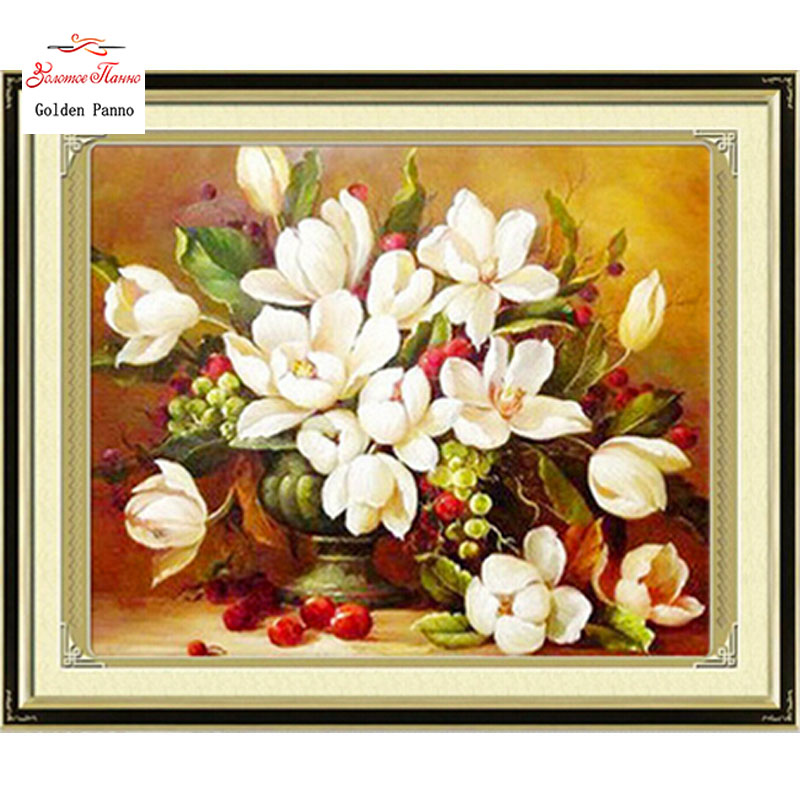 Needlework,DIY DMC Cross Stitch,Sets For Embroidery Kits, White Flowers Pattern Counted Cross-Stitching,factory Direct Sale