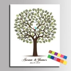 شجرة الزفاف الحب الطيور بصمة قماش اللوحة شخصية ضيف كتاب ديكور الحفلة DIY بصمة شجرة الزفاف هدية