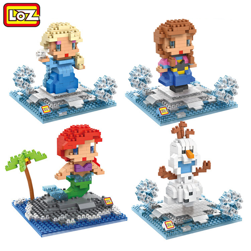 LOZ Princess Ariel Elsa Anna Olaf Diamond Building Blocks DIY 3D Mini Nano Bricks Assembly Block Toy Children Education Toys mr froger loz diamond block easter island world famous architecture diy plastic building bricks educational toys for children