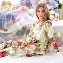 Sleepwear female spring and autumn 100 cotton long sleeve plus size loose thin 100 cotton lounge