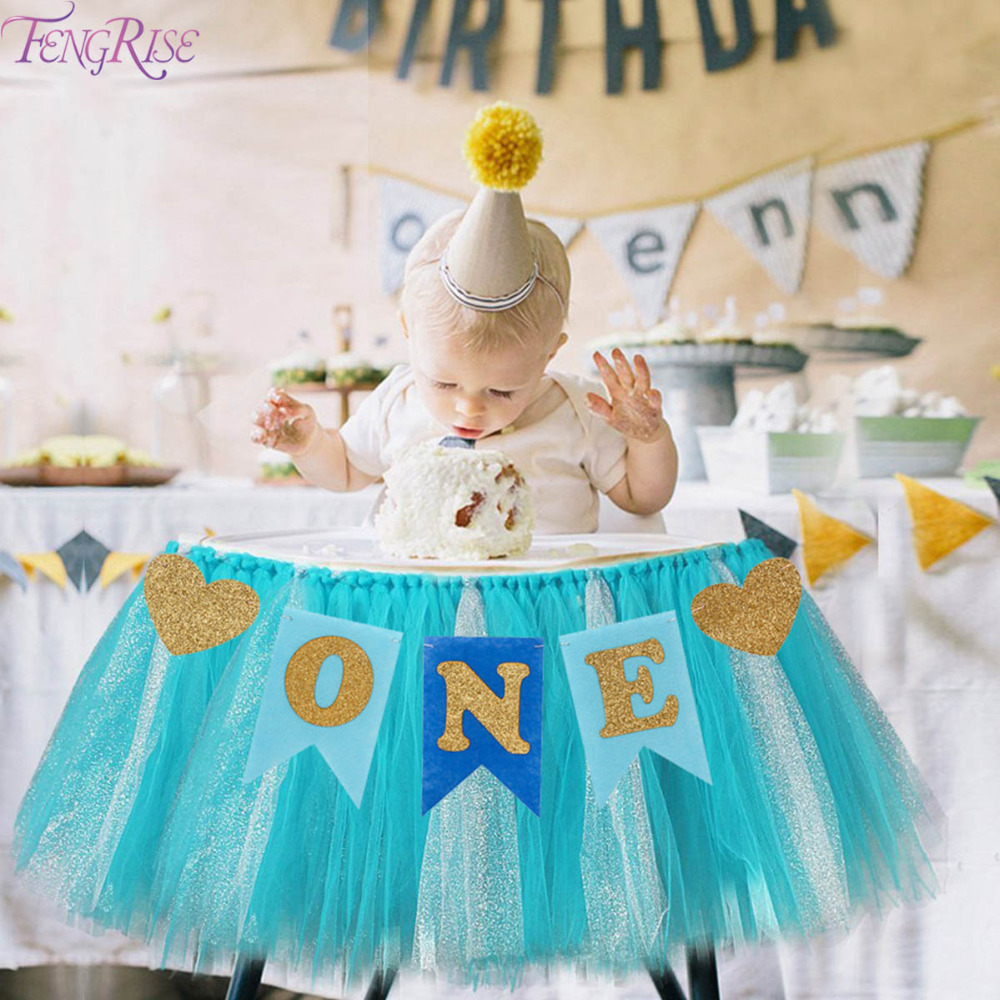 FENGRISE Baby First Birthday Blue Pink Chair Banner 1st Birthday Party Decoration Hanging Bunting Blue I AM ONE Year Old Bunting