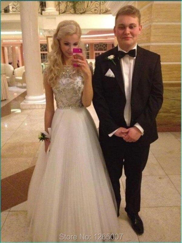 Cheap white sequin prom dress