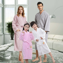 Cotton hotel bathrobe autumn and winter thickening plus long nightgown couple absorbent kimono collar