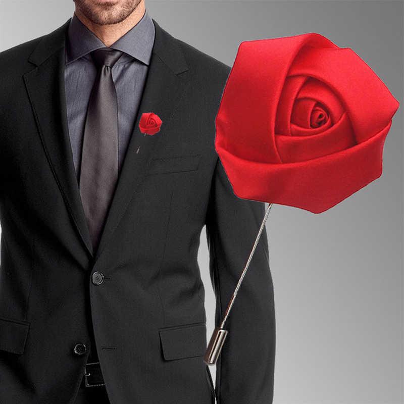 手作り新郎花婿の付添人ブートニエールリボンサテンローズウェディングパーティーウエディングファッション男性のスーツコサージュブローチボタンホール花