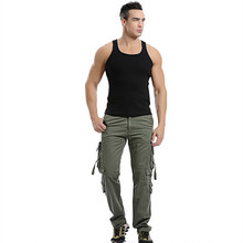 Fashion 2019 New Men Cargo Pants Army Green Big Pockets Decoration Mens Casual Trousers Easy Wash Male  Plus Size 42