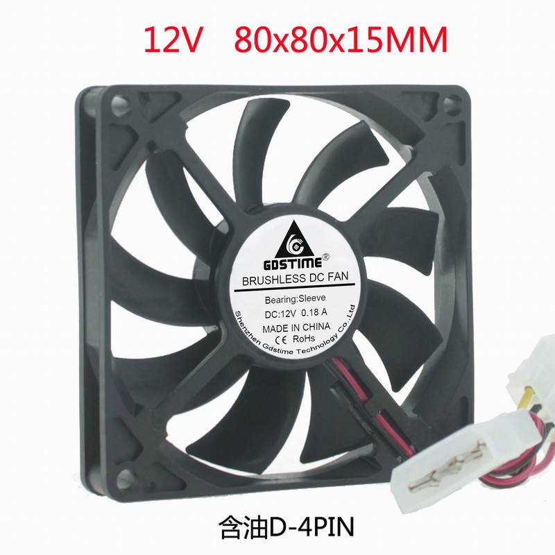 DC 12V 80MM 8CM cm cm <font><b>80x80x15</b></font> chassis power supply 4pin interface cooling <font><b>fan</b></font> image