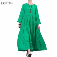 Spring Summer Plus Size Cotton Linen Dresses Women Solid Loose A Line Female Casual Dress 3