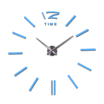 sale wall clock watch clocks 3d diy acrylic mirror stickers Living Room Quartz Needle Europe horloge free shipping 14