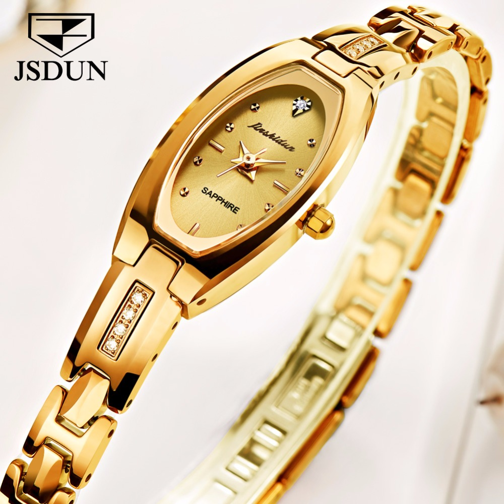 JSDUN Women watches Luxury dress quartz watch Golden Tungsten steel bracelet watch ladies Fashion relogio feminino montre femme