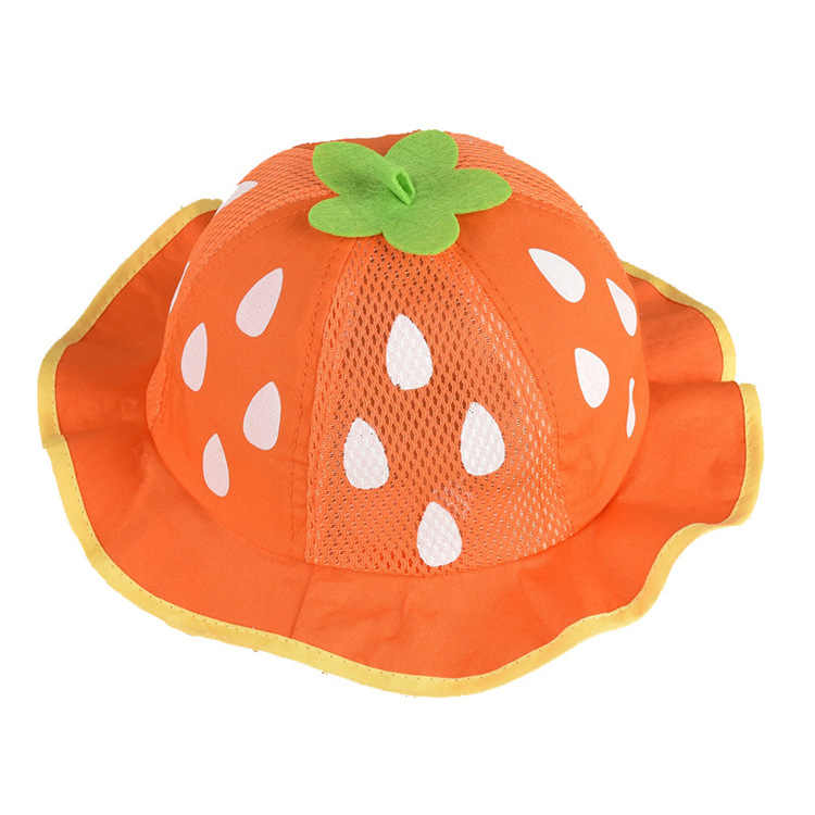 e8939962407 ... Girls Hat Fashion Bucket Hats Cute Mesh Sun Cap Dot Infant Caps  Strawberry Toddler Beanies Summer ...